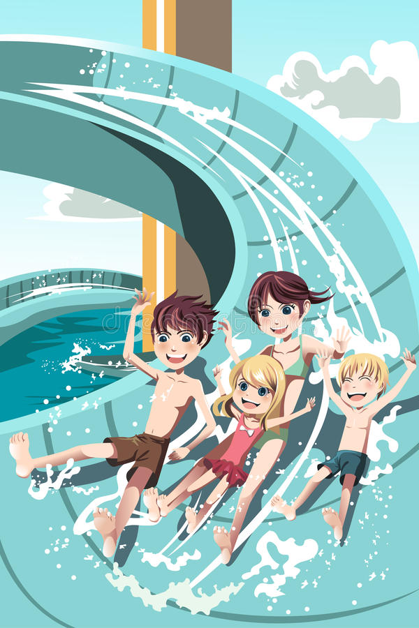 Kids playing in water slides vector illustration