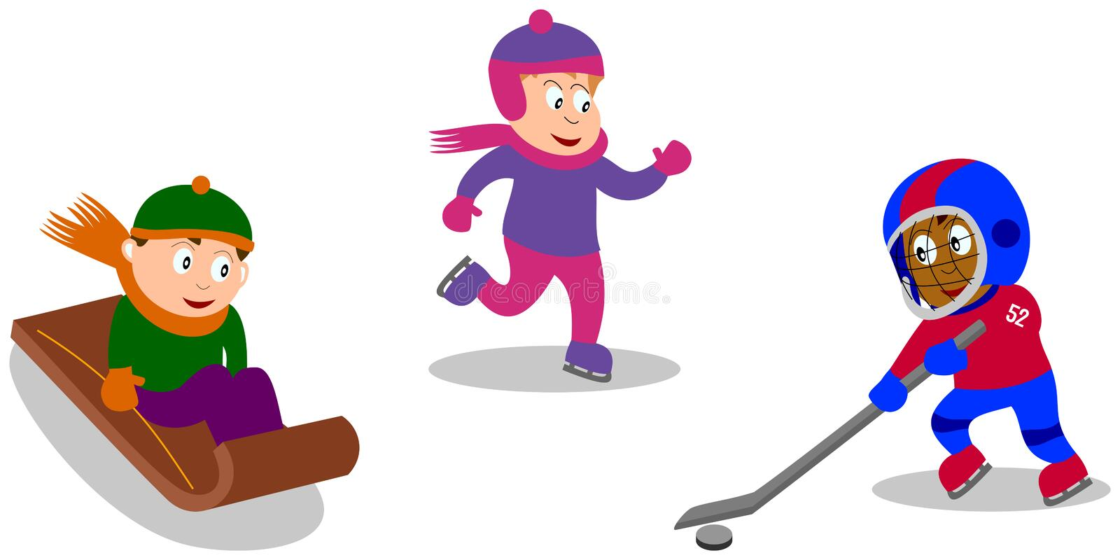 Kids Playing - Winter Games. Three kids (isolated on white background) playing ice hockey, with a sled on the snow, skating on ice. You can find other sports in vector illustration