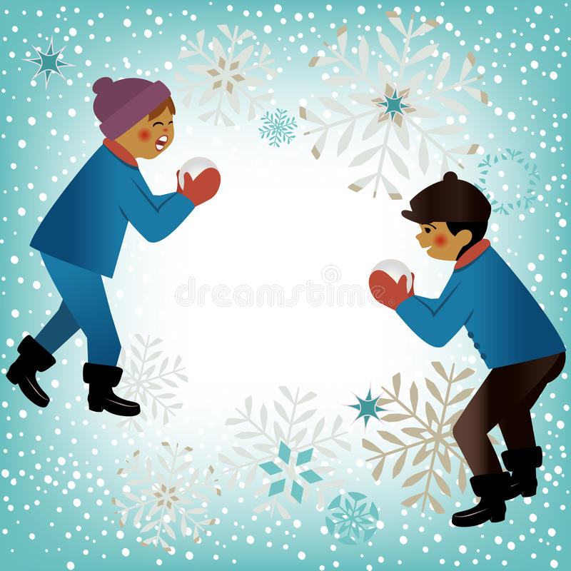 Download Kids playing winter theme stock photo. Image of winter - 28647868