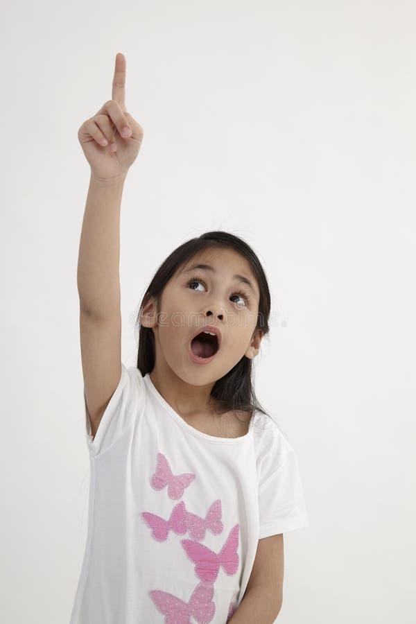 Kids pointing stock image