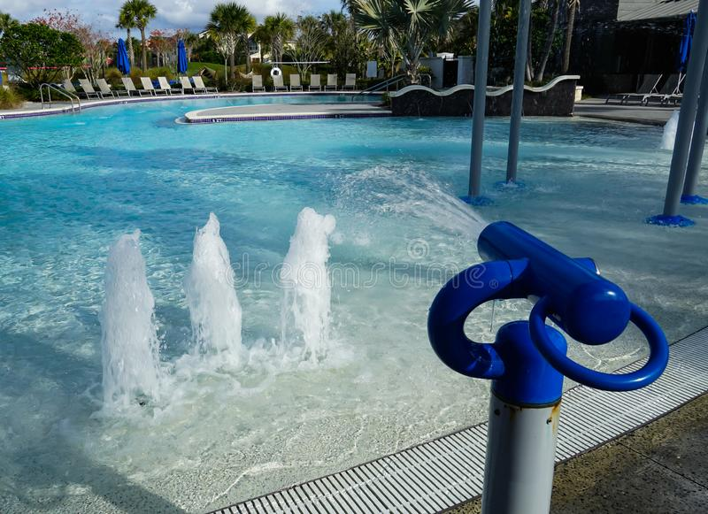 Kids Pool with water guns and fountains royalty free stock images