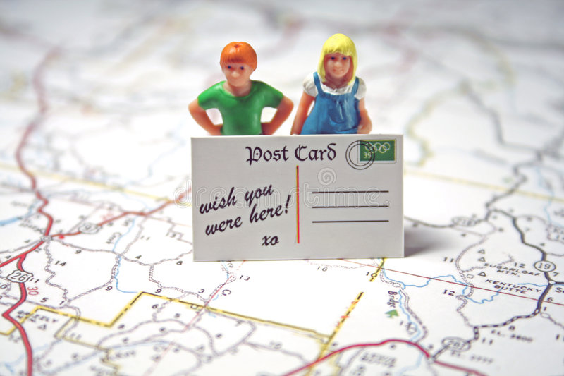 Kids & Post Card - wish you were here royalty free stock images