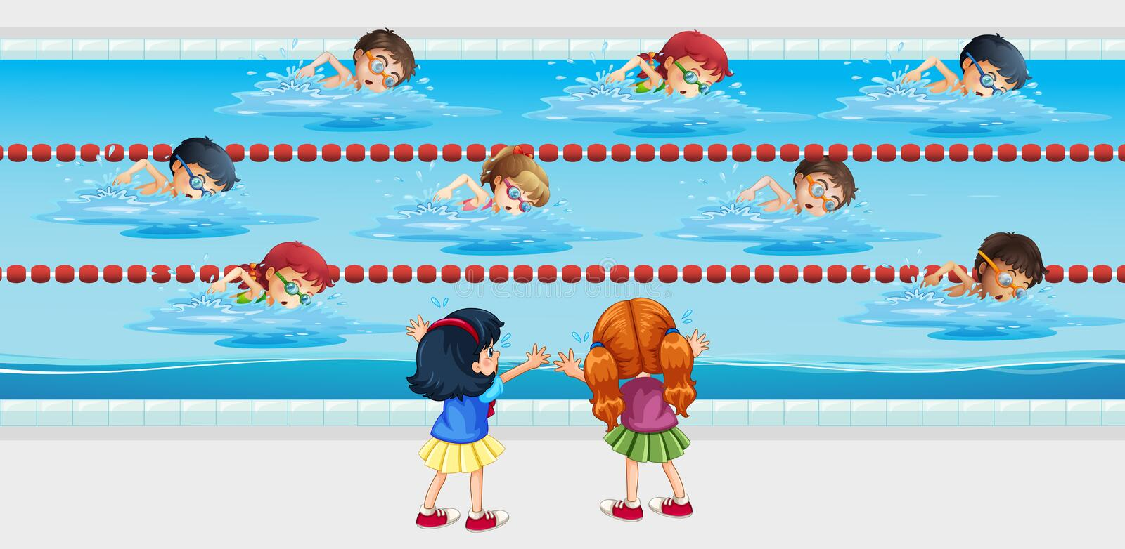 Kids practice swimming in the pool. Illustration royalty free illustration