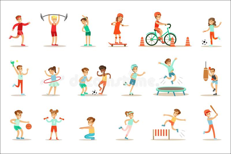 Kids Practicing Different Sports And Physical Activities In Physical Education Class Gym And Outdoors. Children Playing vector illustration