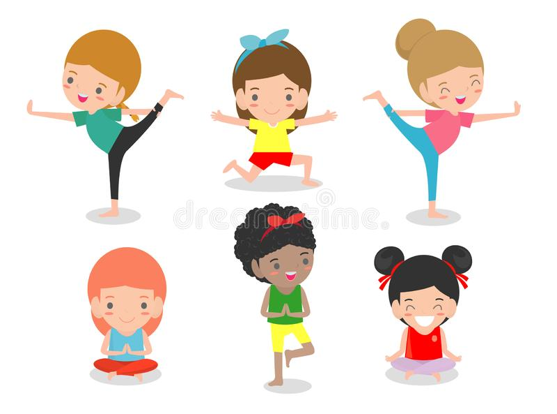 Kids Practicing Yoga, happy cartoon children Practicing Yoga, Child doing yoga exercises. Healthy lifestyle on white background. Kids Practicing Yoga, happy vector illustration