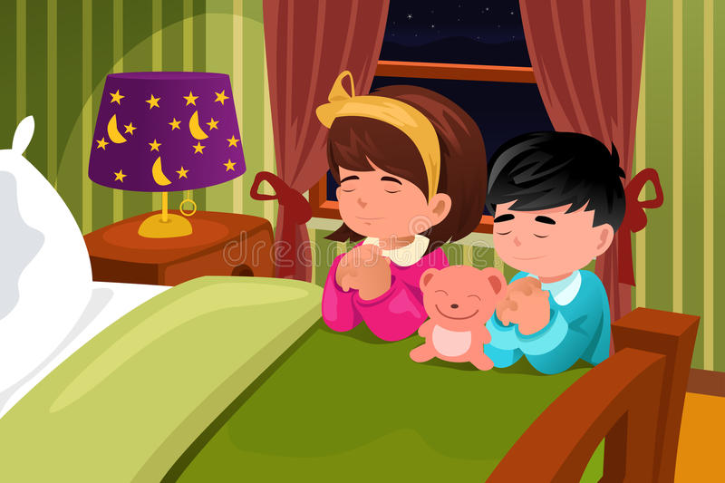 Kids praying before going to bed royalty free illustration