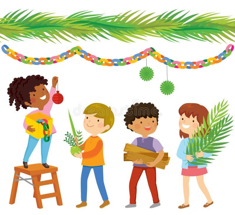 Kids preparing for Sukkot vector illustration