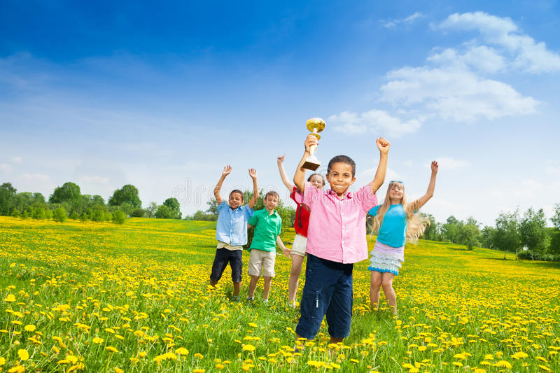 Kids with prize stock photos