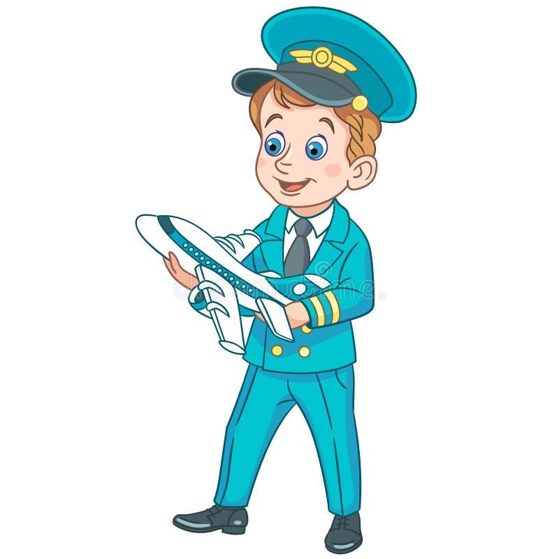Cartoon airplane pilot with toy plane stock photos