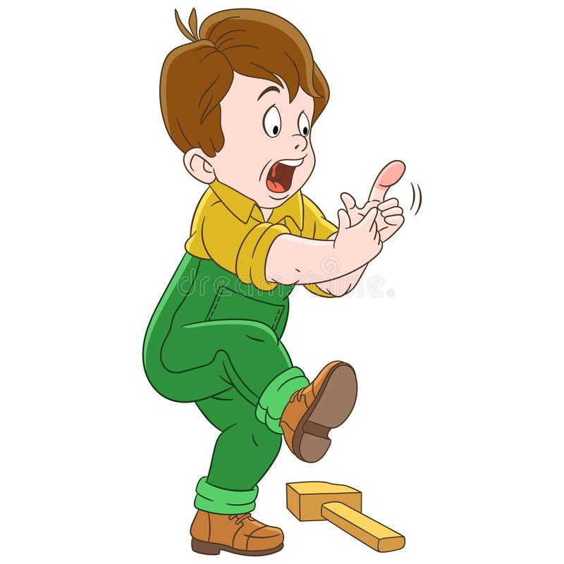 Cartoon boy hitting finger royalty free illustration