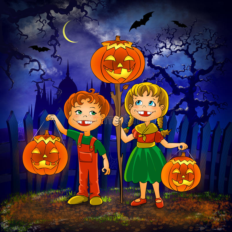 Download Kids With Pumpkins Celebrate Halloween. Stock Illustration - Image: 16392286