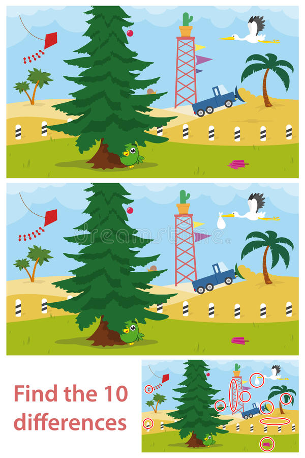 Free Kids Puzzle Of A Desert Tree Difference Royalty Free Stock Photography - 34194467