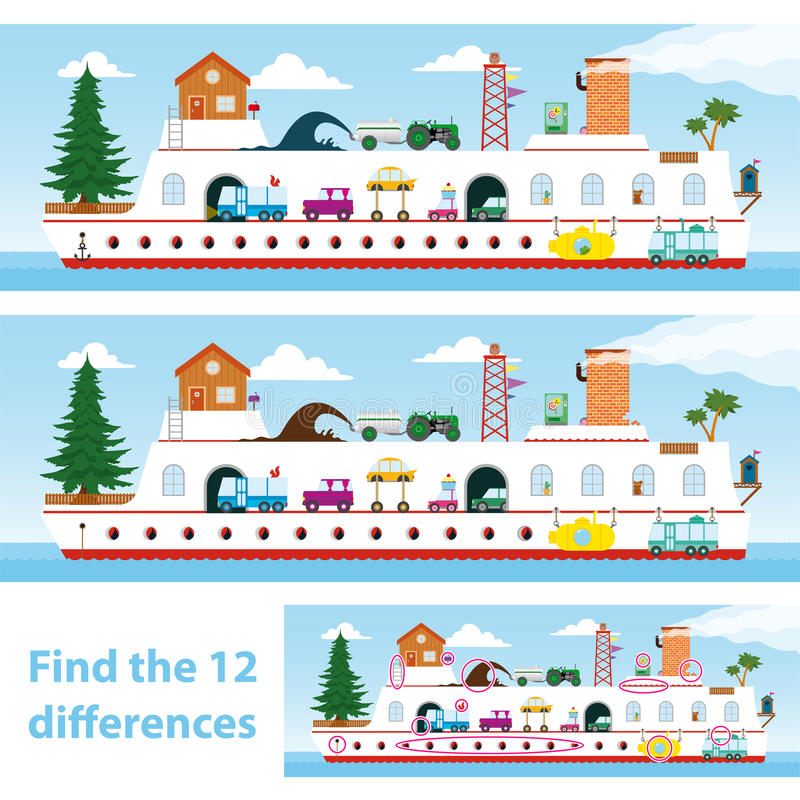 Free Kids Puzzle Ship To Spot The 12 Differences Stock Photography - 47004972