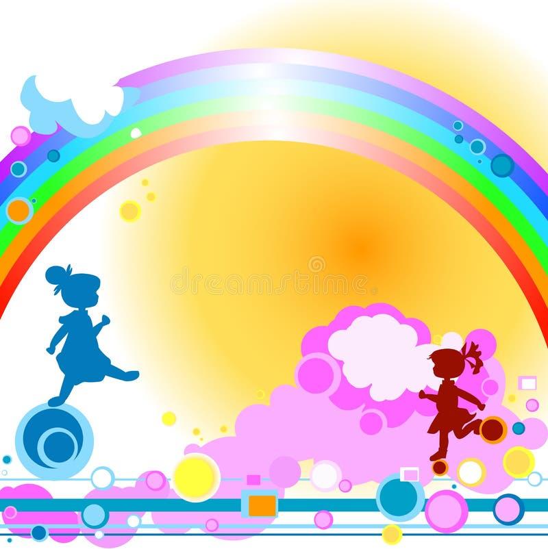 Kids and rainbow royalty free stock photo