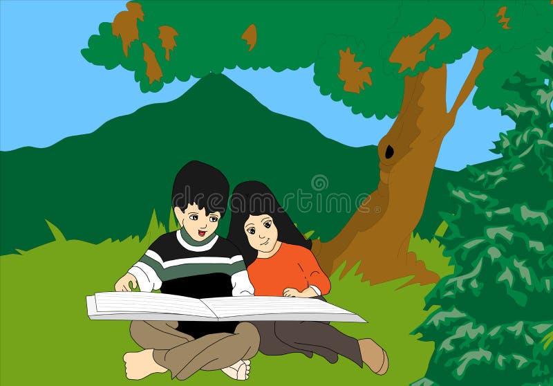 Download Kids reading stock illustration. Image of girl, boys - 16426070