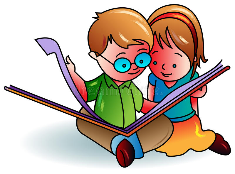 Kids reading a book. Illustrated cartoon image royalty free illustration