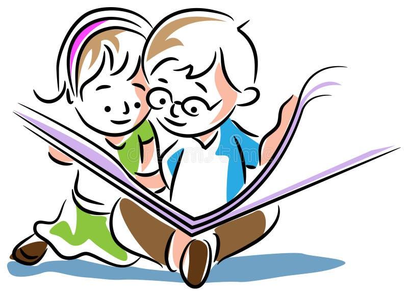 Kids reading a book. Line art cartoon image vector illustration