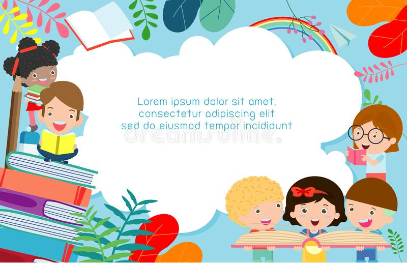 Kids reading books, back to school, education concept, Template for advertising brochure, your text,Kids and frame,child and frame royalty free illustration
