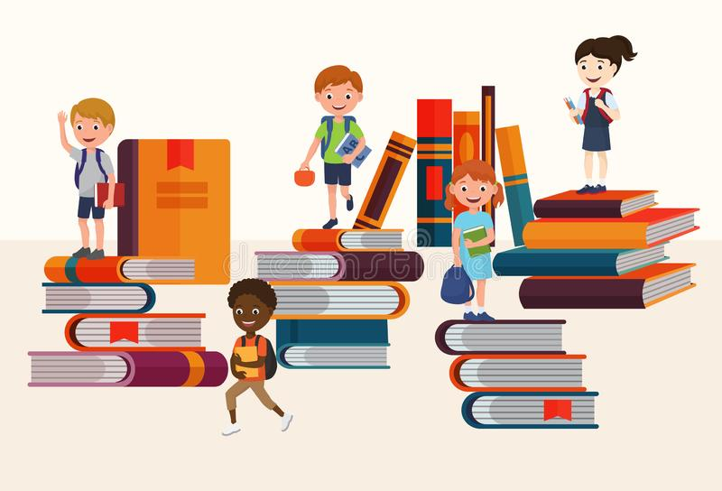 Kids reading books and enjoying literature vector illustration. Cartoon boys and girls loving to read, sitting and royalty free illustration