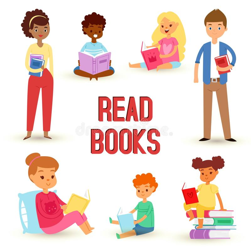 Kids reading books and enjoying literature vector set of happy boys and girls of different nationality loving to read. Study and learn. Sitting and laying vector illustration