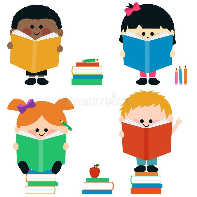 Kids reading books. stock illustration