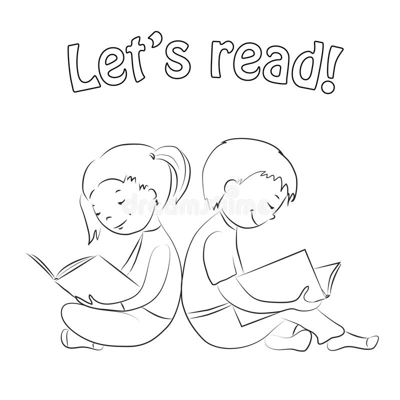 Kids Reading Books - Outline. Coloring Page. Stock Vector ...