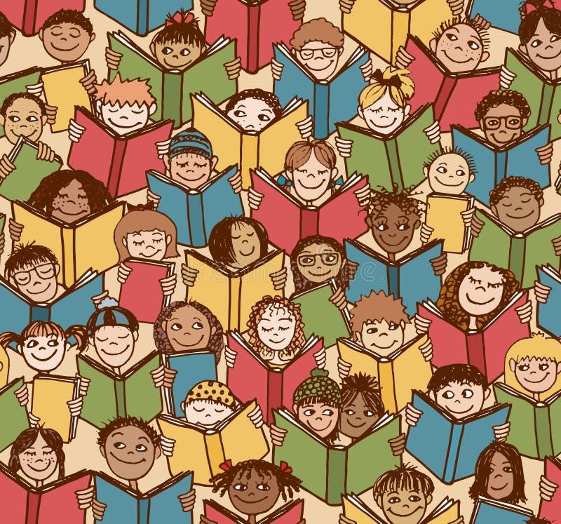 Kids reading books. Seamless pattern of children reading colorful books stock illustration