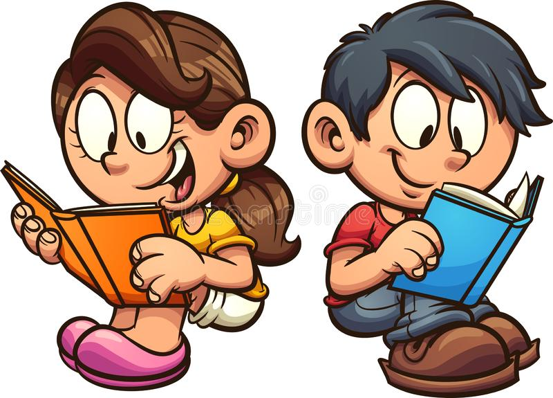 Cartoon boy and girl reading books while sitting down vector illustration