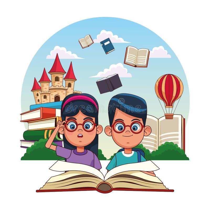 Kids reading fairy tales. Books cartoons stock illustration