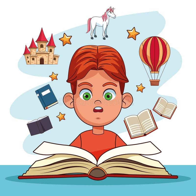 Kids reading fairy tales. Books cartoons vector illustration graphic design royalty free illustration