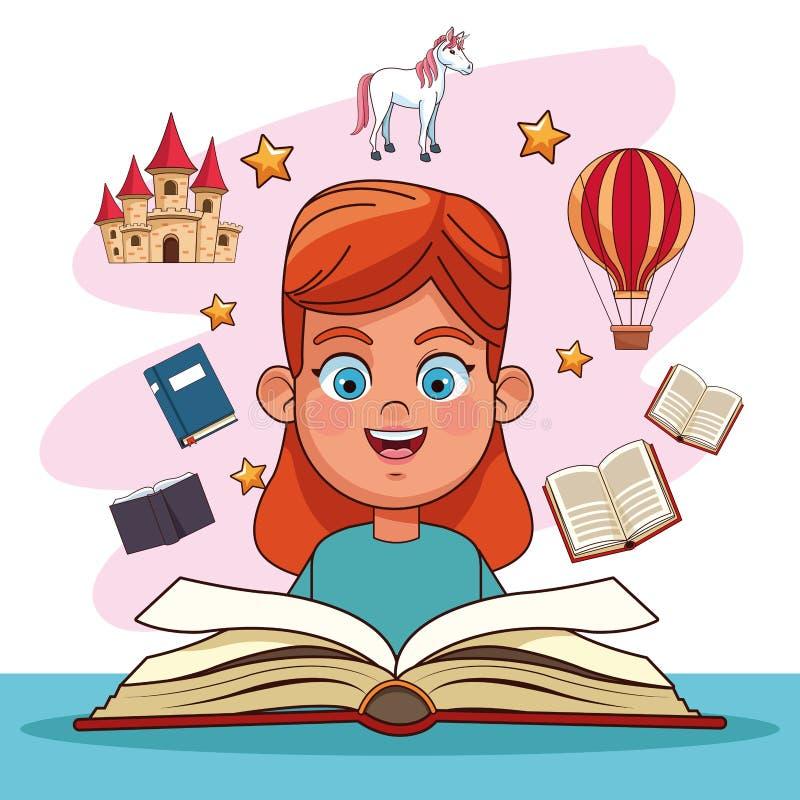 Kids reading fairy tales. Books cartoons vector illustration graphic design vector illustration