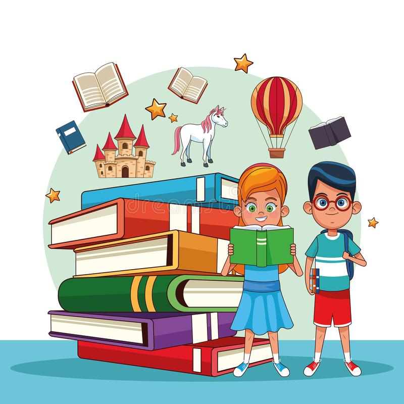 Kids reading fairy tales. Books cartoons vector illustration