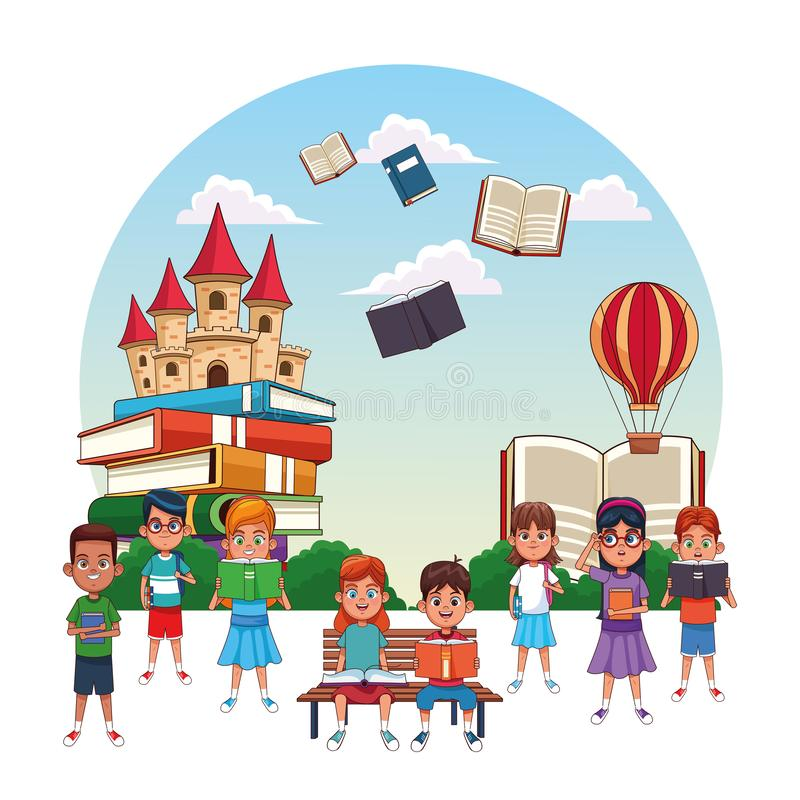 Kids reading fairy tales. Books cartoons royalty free illustration