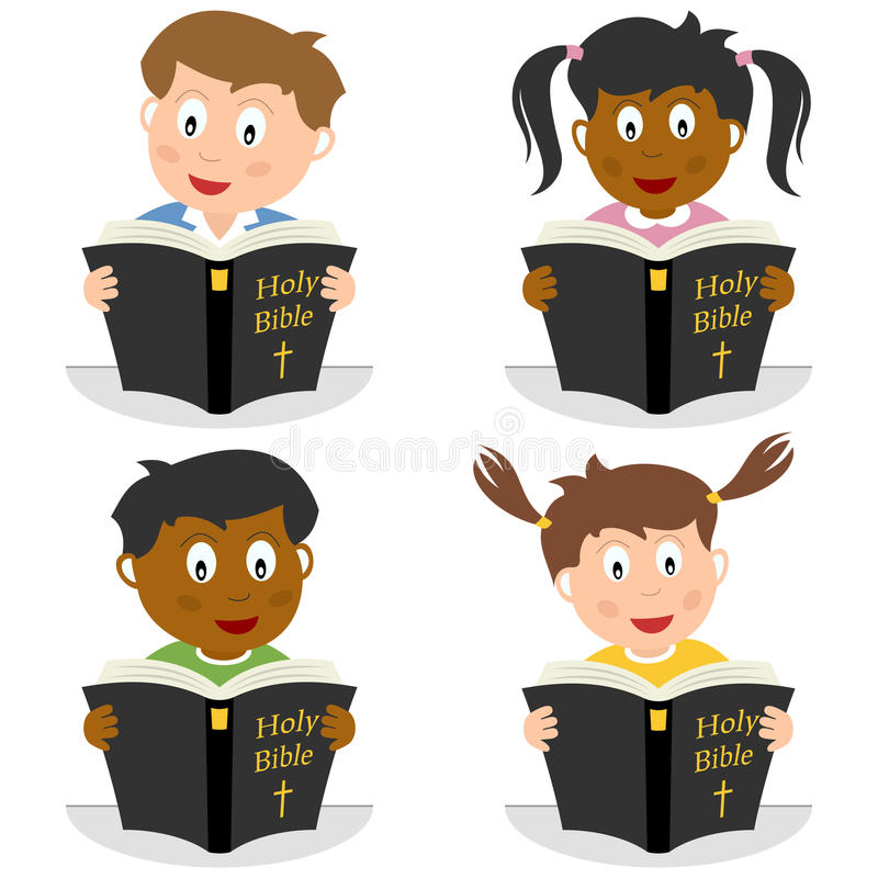 Kids Reading the Holy Bible royalty free illustration