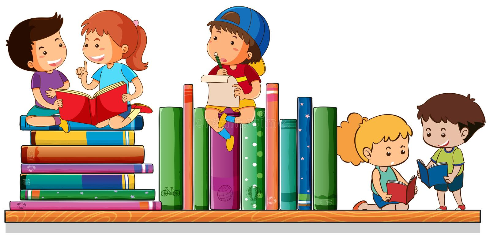 Kids reading and playing with books. Illustration stock illustration