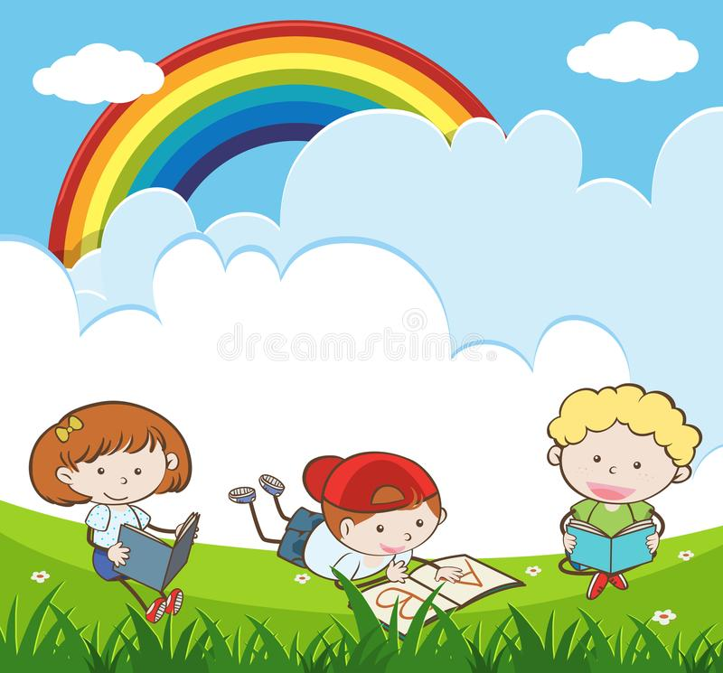 Kids Reading and Studying in Garden vector illustration