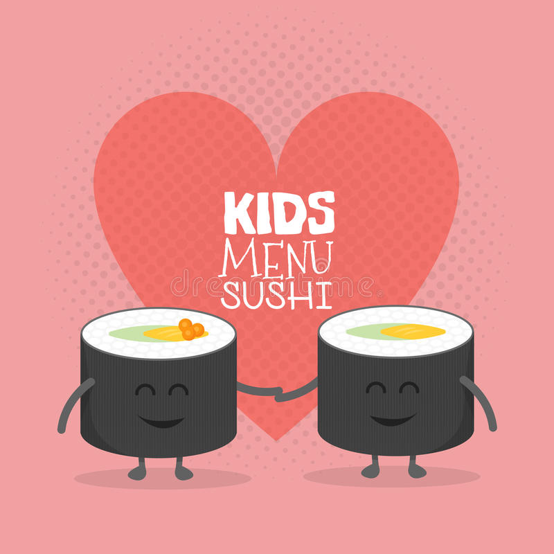 Kids restaurant menu cardboard character. Funny cute sushi roll friends love drawn with a smile, eyes and hands. stock illustration