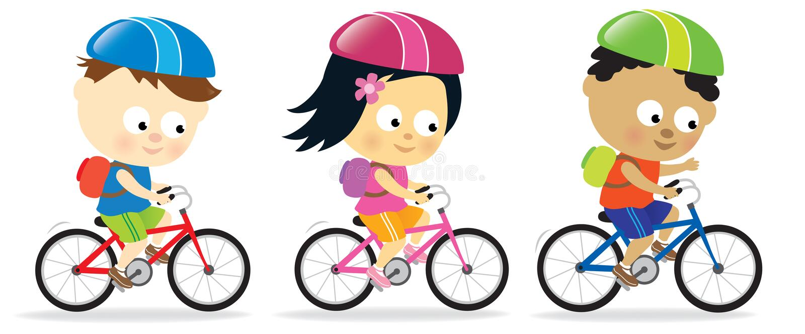 Kids riding bikes royalty free illustration