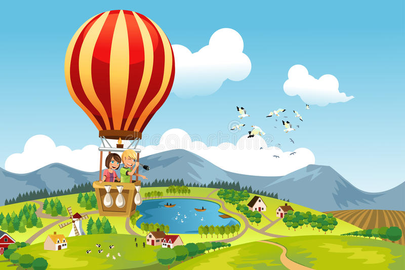 Kids riding hot air balloon royalty free illustration