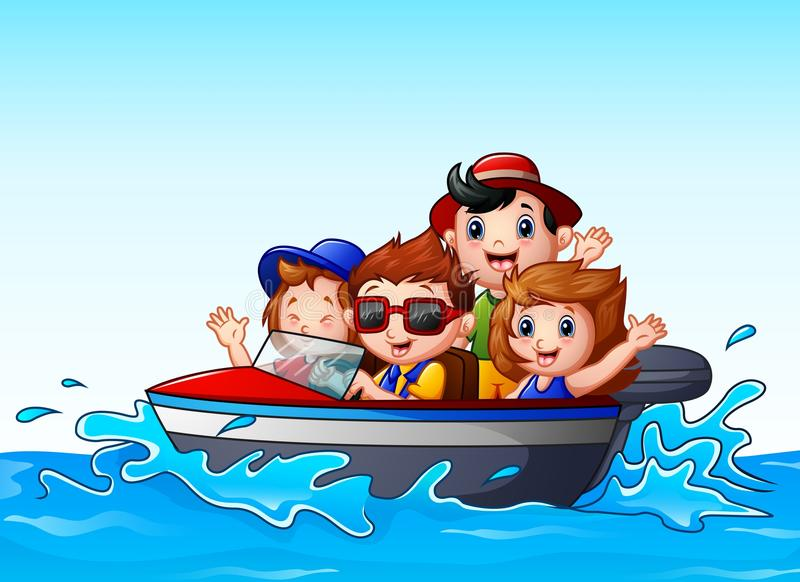 Kids riding a motor boat in the ocean royalty free illustration