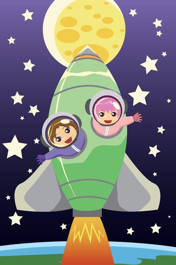 Kids riding on a rocket stock illustration