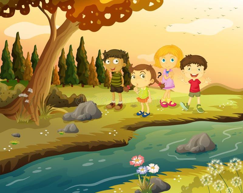 Kids at the riverbank vector illustration