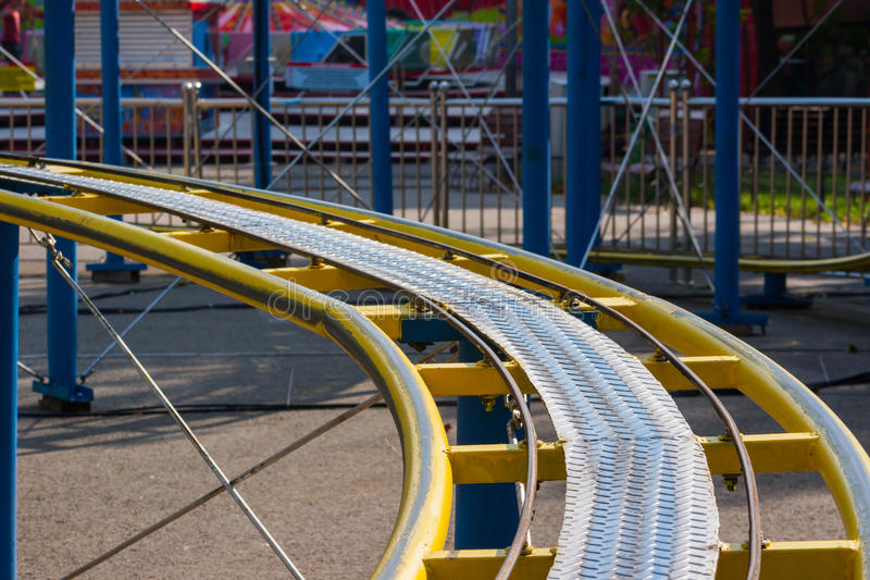 Download Kids Roller Coaster Yellow Rails In Amusement Park. Stock Image - Image of childhood, excitement: 47595863