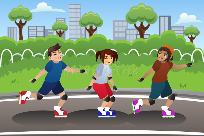 Kids Rollerblading Outdoor royalty free illustration