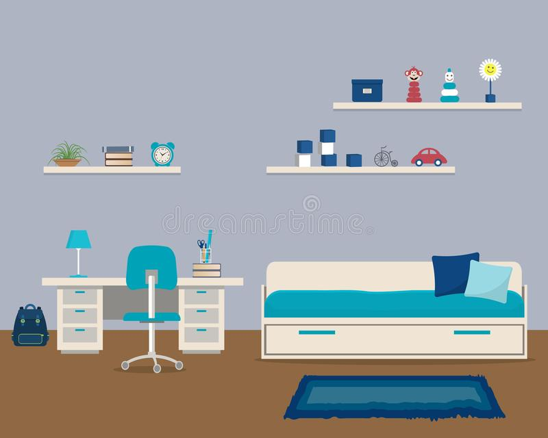 Kids` room in a blue color with bed and desk royalty free illustration