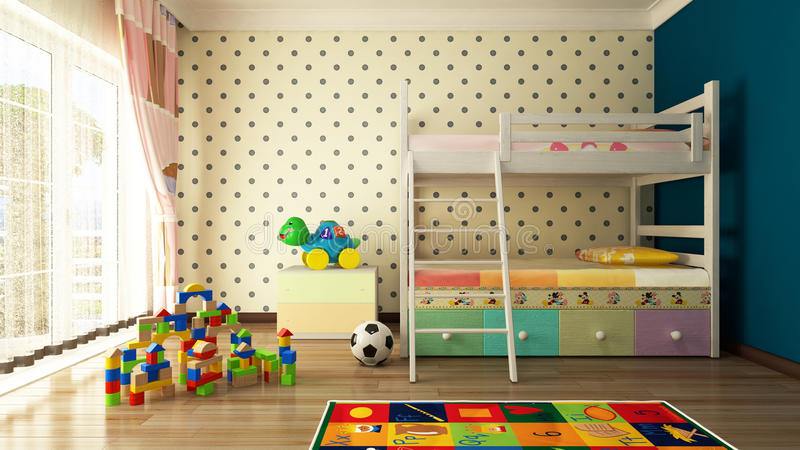 Kids room. Design with sweet bed