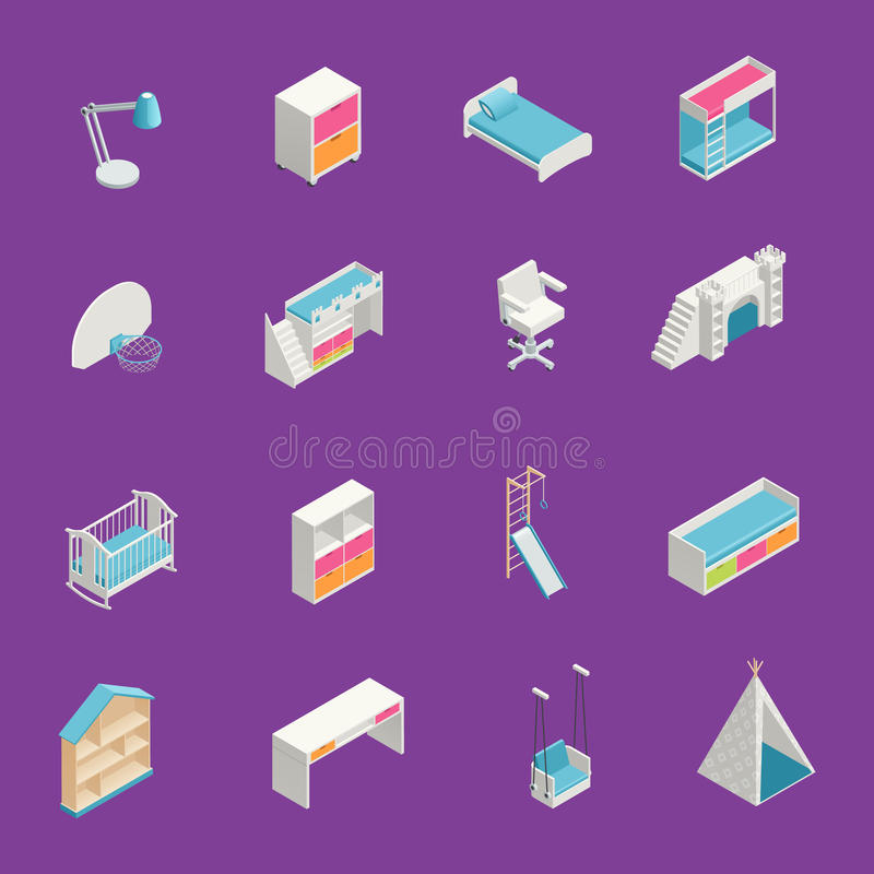 Kids Room Icons Set royalty free illustration