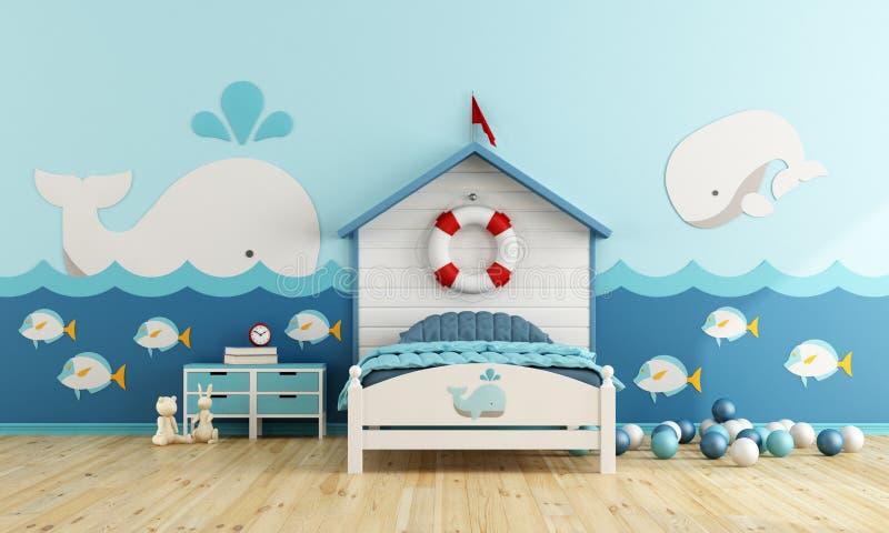 Kids room in marine style stock illustration