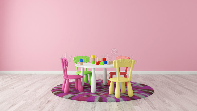 Kids room preschool. Child room with colorful table and chairs - rendering