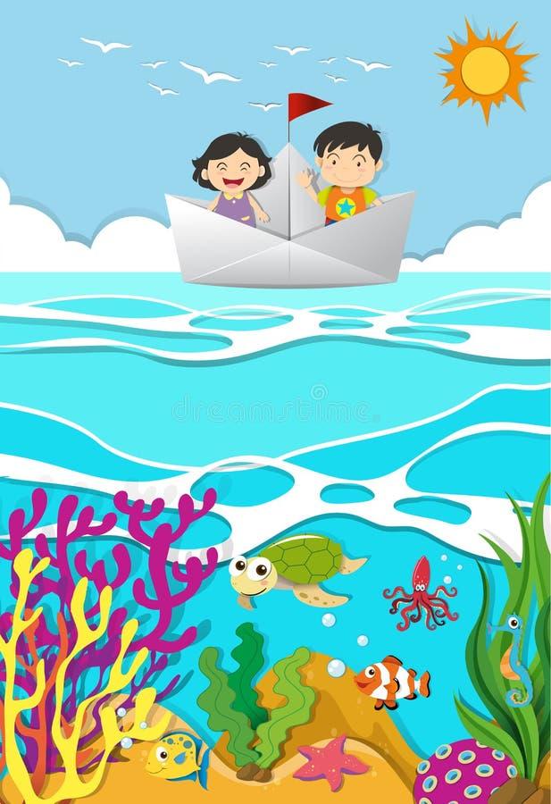 Kids rowing on paper boat vector illustration